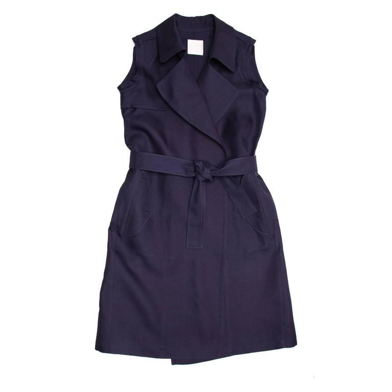 Lanvin Navy Sleeveless Trench Style Dress 2