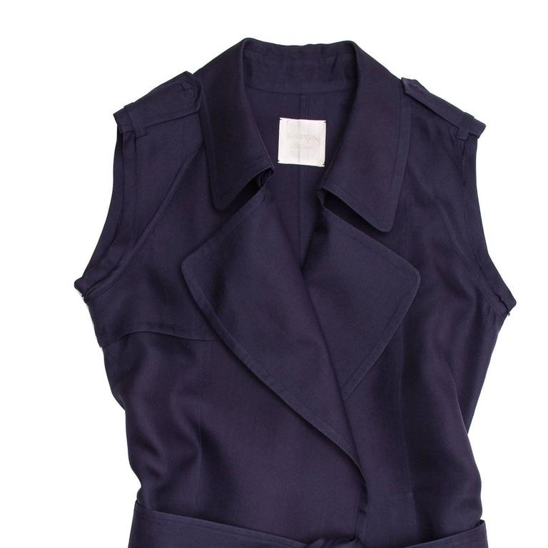 Lanvin Navy Sleeveless Trench Style Dress 5