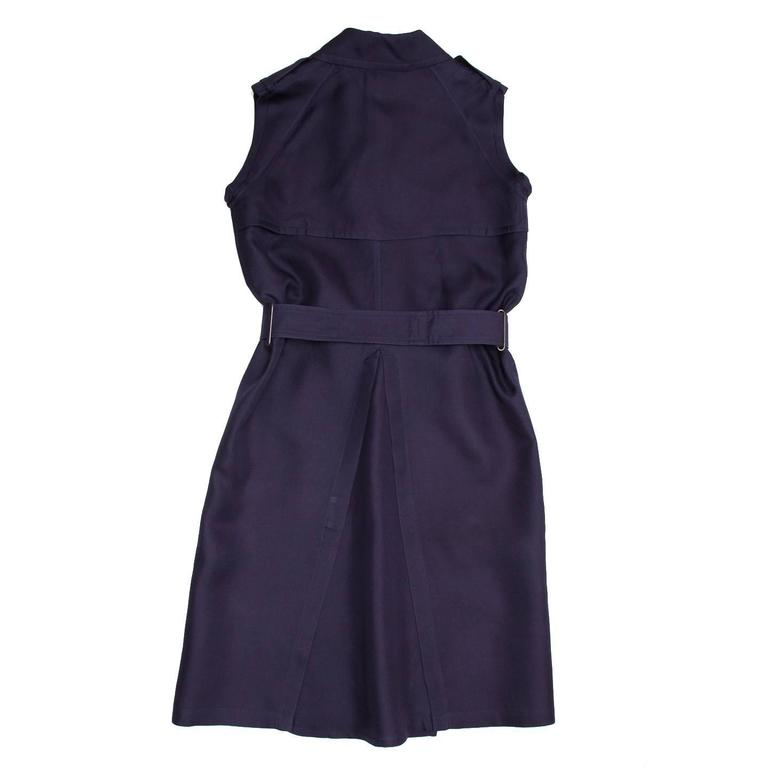 Lanvin Navy Sleeveless Trench Style Dress In Excellent Condition For Sale In Brooklyn, NY