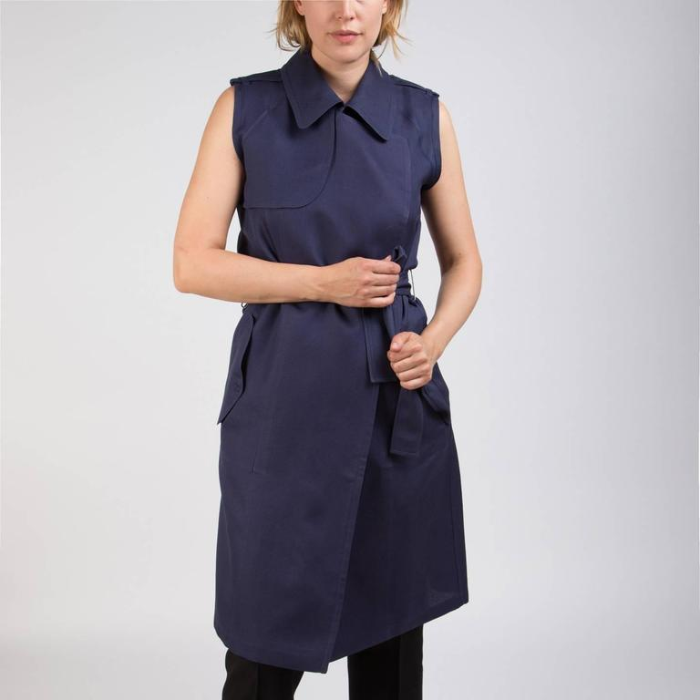 Lanvin Navy Sleeveless Trench Style Dress 7