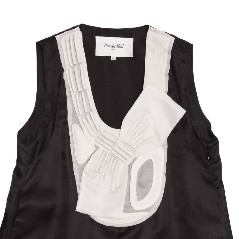 Women's Rue Du Mail Black & White Silk Dress For Sale