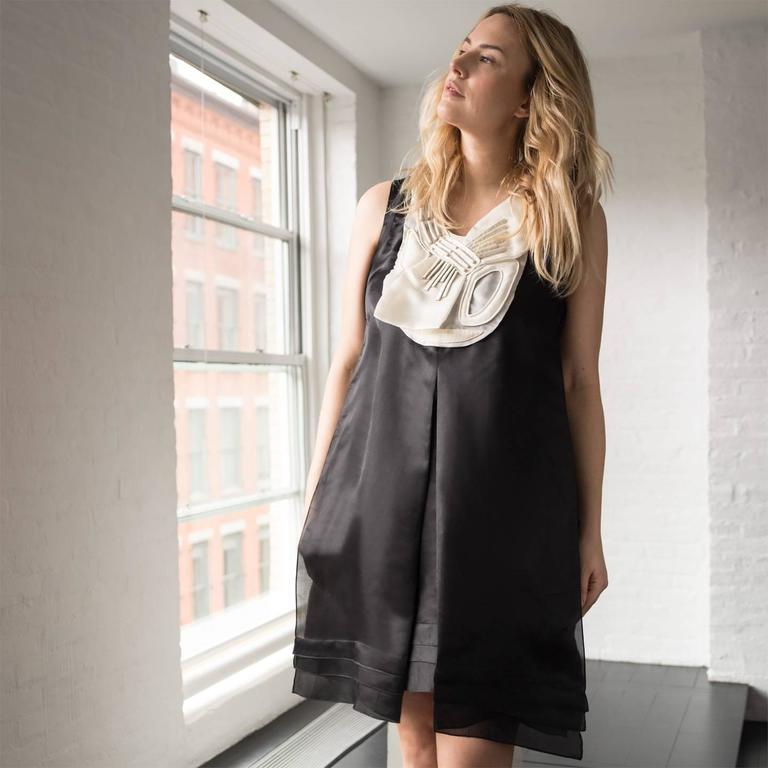 Rue Du Mail Black & White Silk Dress For Sale 1