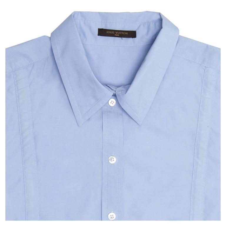 Louis Vuitton Sky Blue Pleated Shirt Dress 4