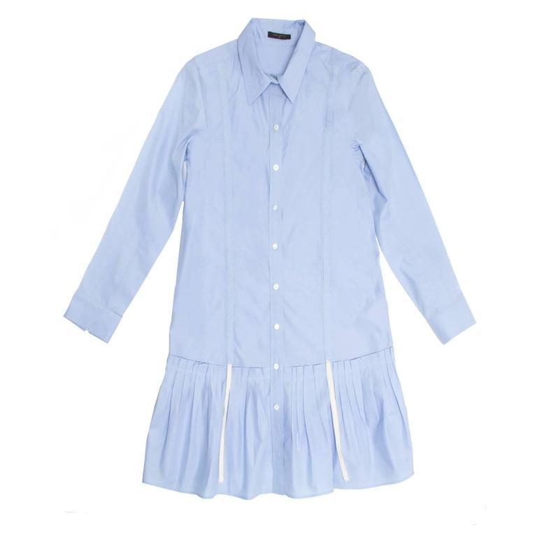Louis Vuitton Sky Blue Pleated Shirt Dress 2