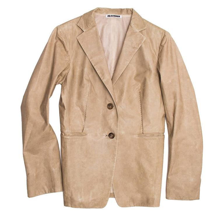 Jil Sander Sand Leather Blazer 2