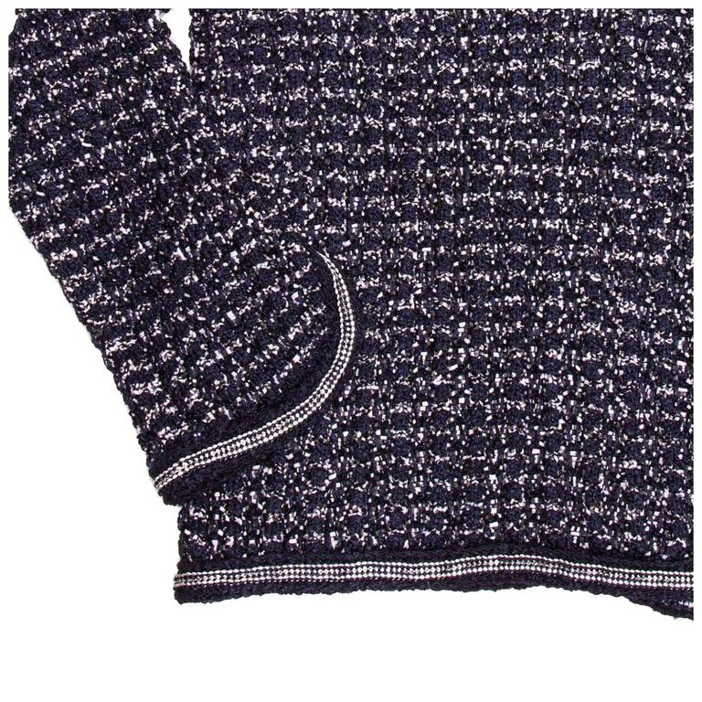 Chanel Navy & Silver Knit Jacket  6