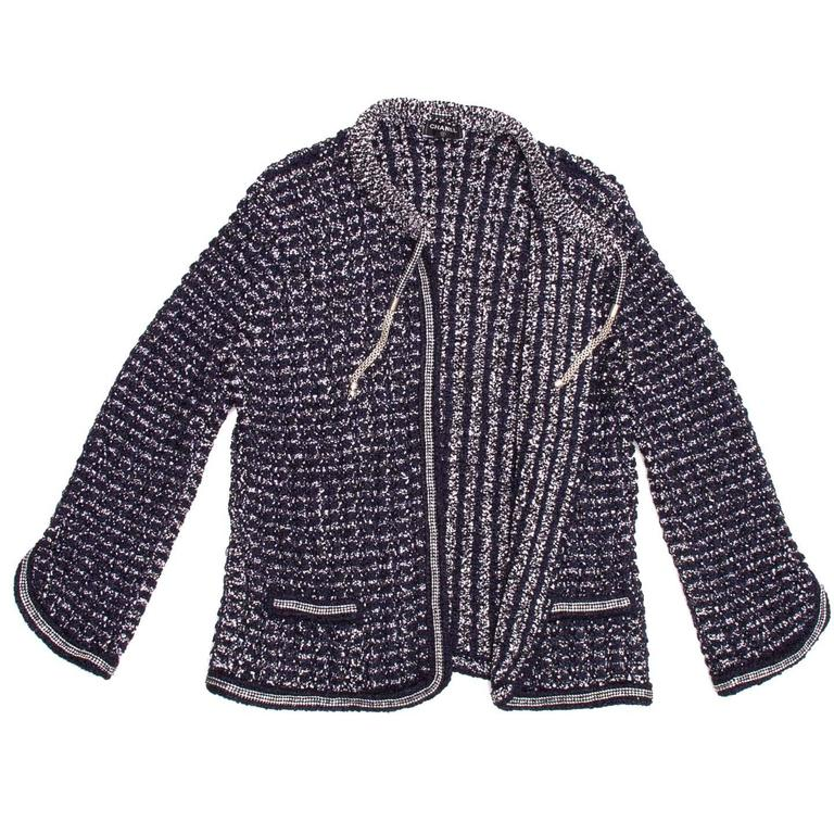 Chanel Navy & Silver Knit Jacket  3