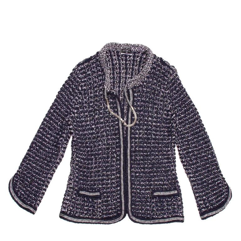 Chanel Navy & Silver Knit Jacket  2