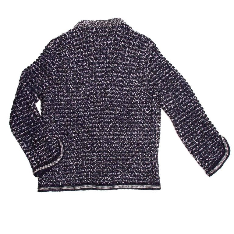 Chanel Navy & Silver Knit Jacket  4