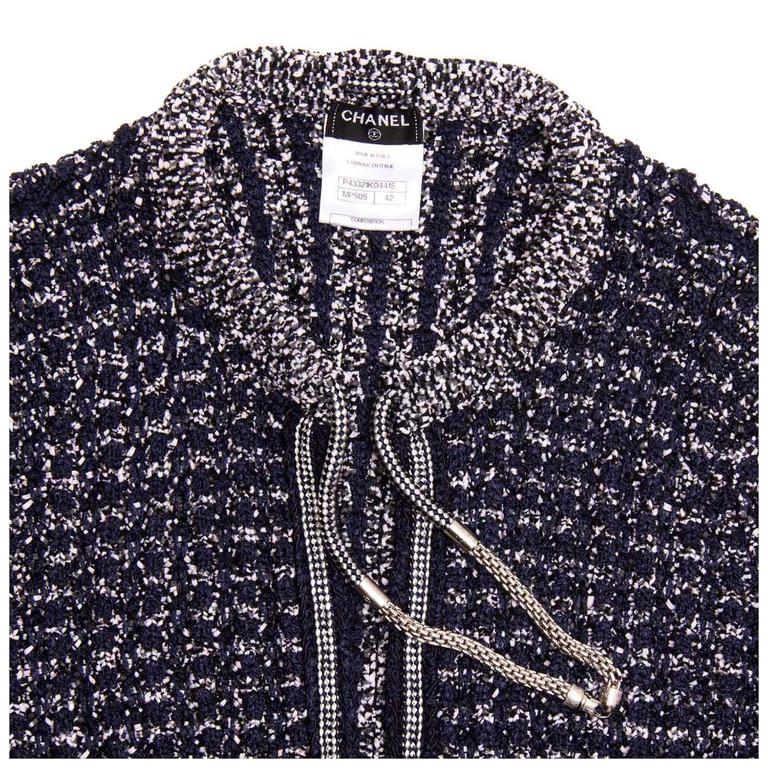 Chanel Navy & Silver Knit Jacket  5