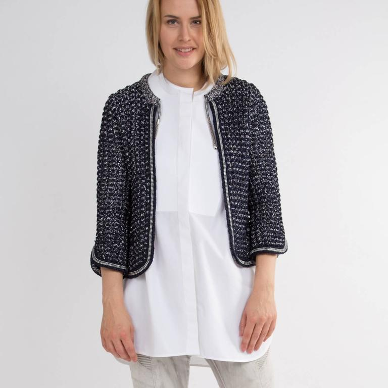 Chanel Navy & Silver Knit Jacket  7