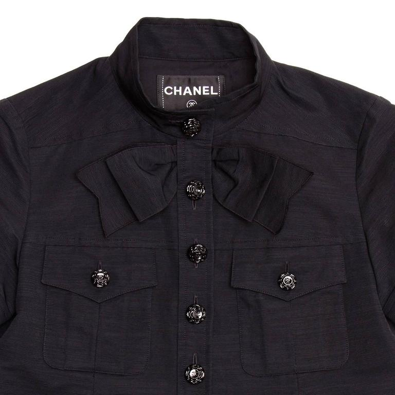 Chanel Black Cotton Shirt Jacket Style With Bow Detail For Sale 1