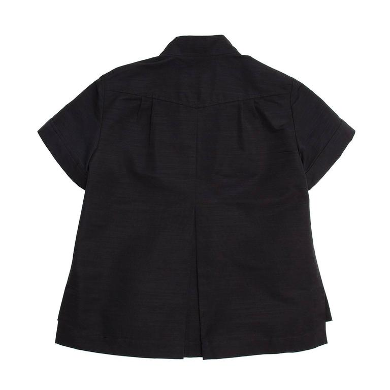 Women's Chanel Black Cotton Shirt Jacket Style With Bow Detail For Sale