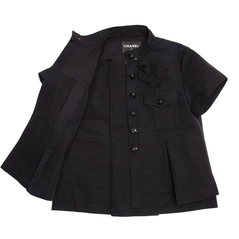 Chanel Black Cotton Shirt Jacket Style With Bow Detail In Excellent Condition For Sale In Brooklyn, NY