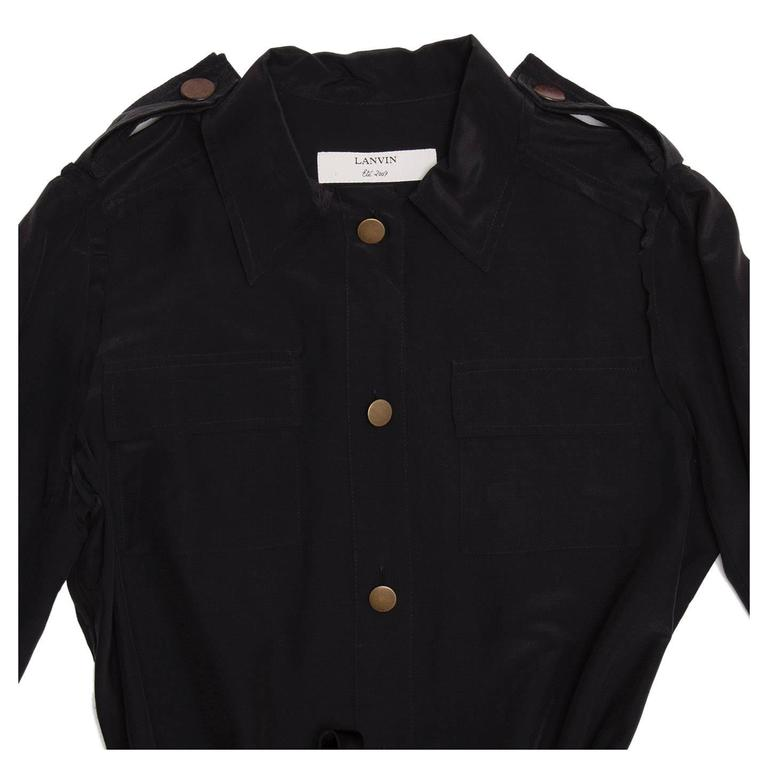 Lanvin Black Silk Shirt Dress 5