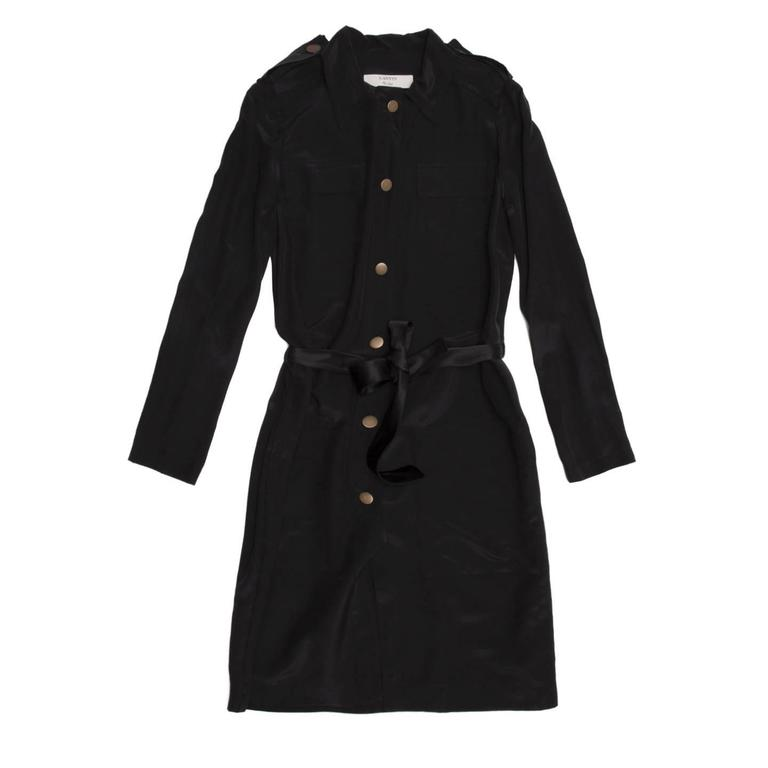 Lanvin Black Silk Shirt Dress 2