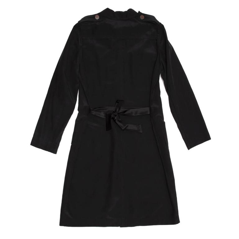 Lanvin Black Silk Shirt Dress 4