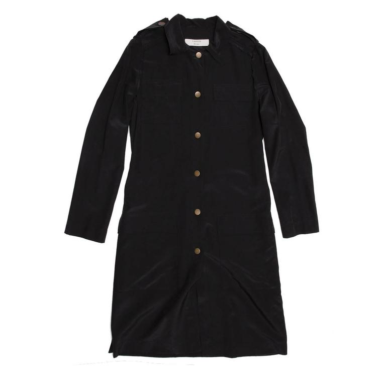 Lanvin Black Silk Shirt Dress 3