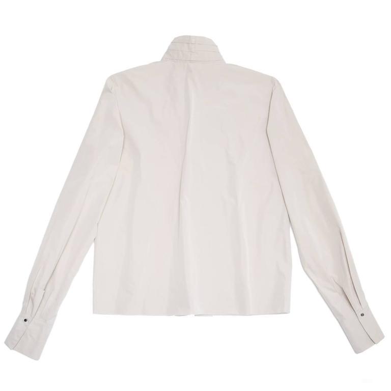Beige Lanvin Warm Grey Silk Shirt For Sale