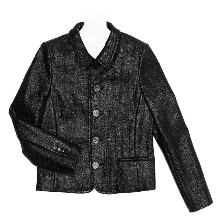 Saint Laurent Black Patent Texture Jacket