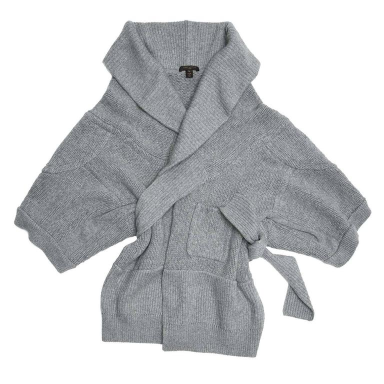 Louis Vuitton Grey Cashmere Wrap Cardigan 2