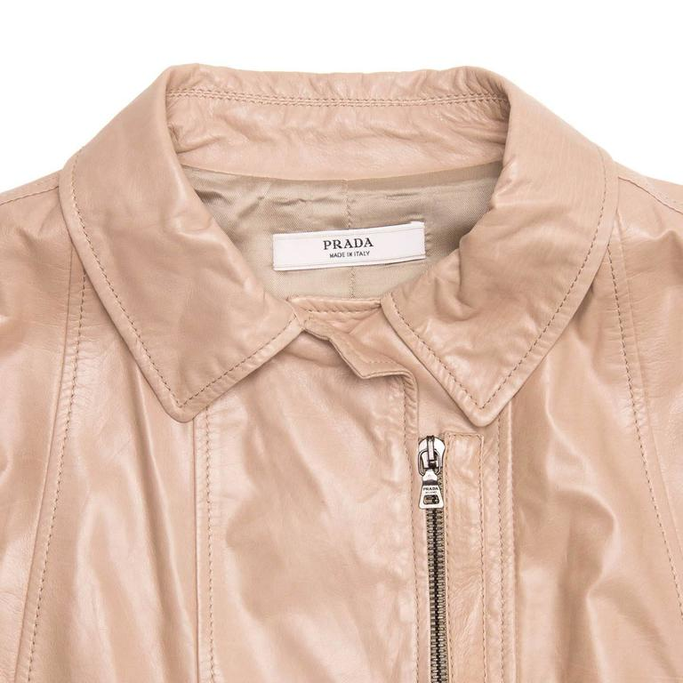 Prada Tan Cropped Leather Jacket For Sale 1