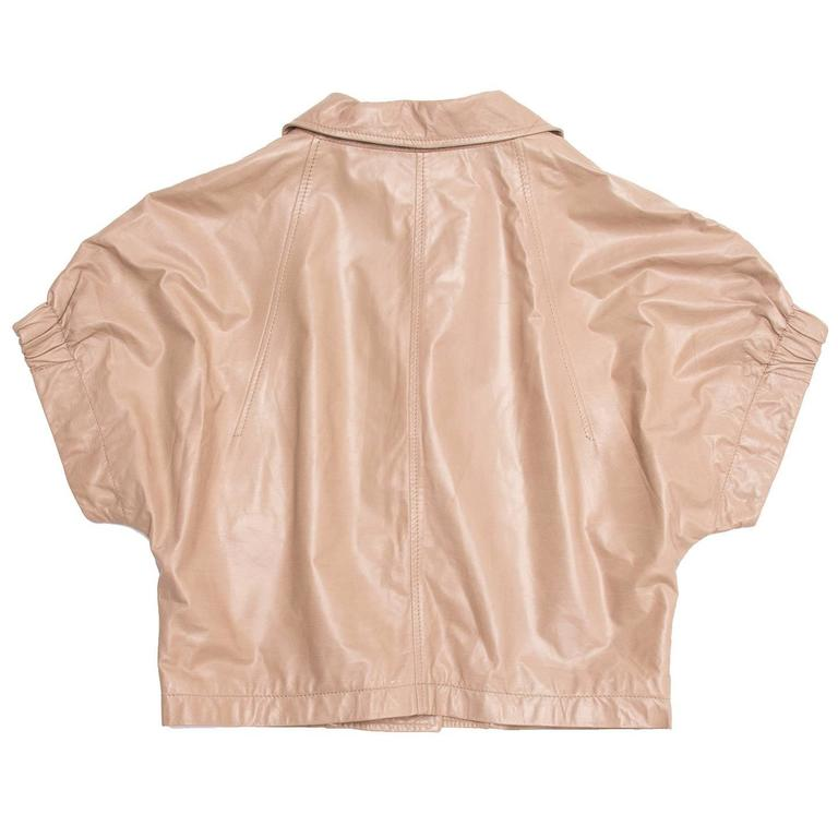 Prada Tan Cropped Leather Jacket In New Condition For Sale In Brooklyn, NY