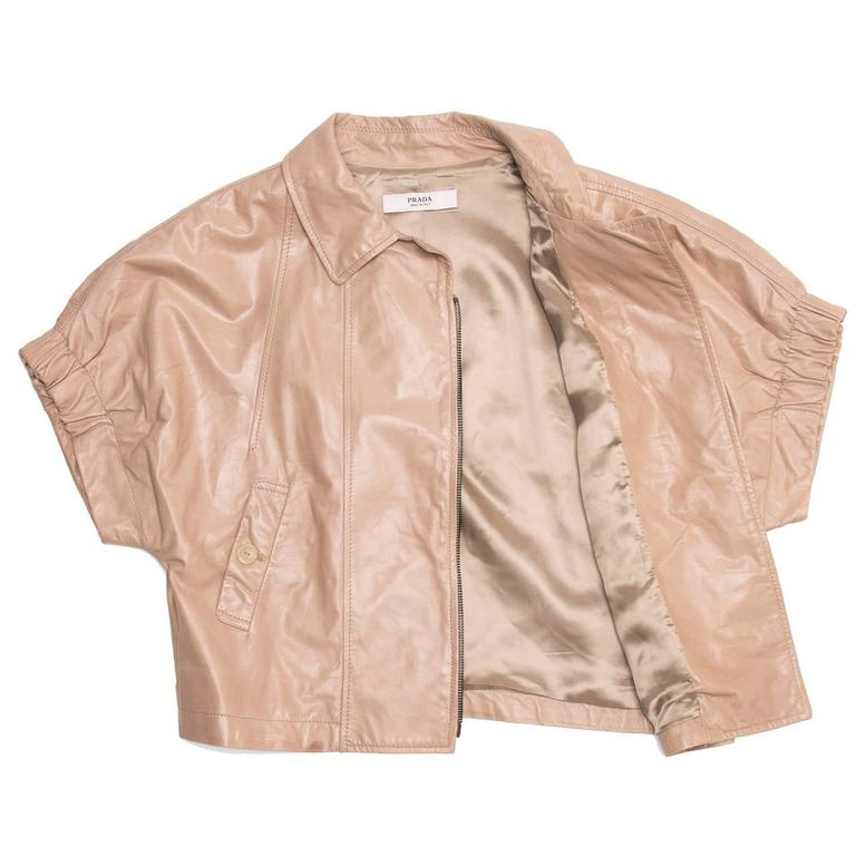 Women's Prada Tan Cropped Leather Jacket For Sale