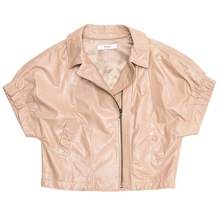 Beige Prada Tan Cropped Leather Jacket For Sale