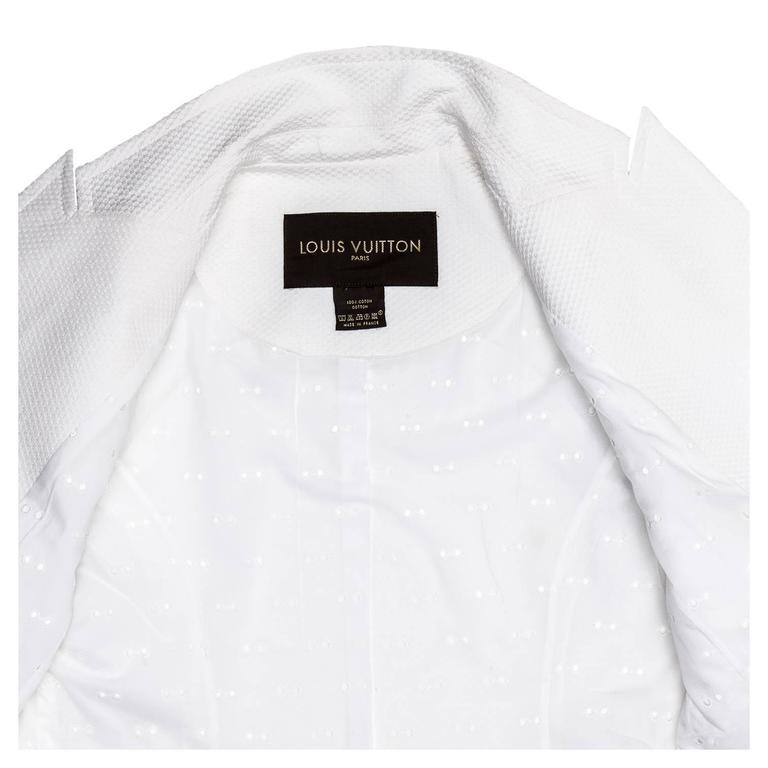 Women's Louis Vuitton White Cotton Piquet Blazer For Sale
