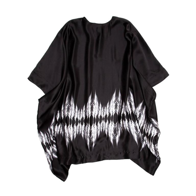Thomas Wylde Black & White Silk Kaftan In New Never_worn Condition For Sale In Brooklyn, NY