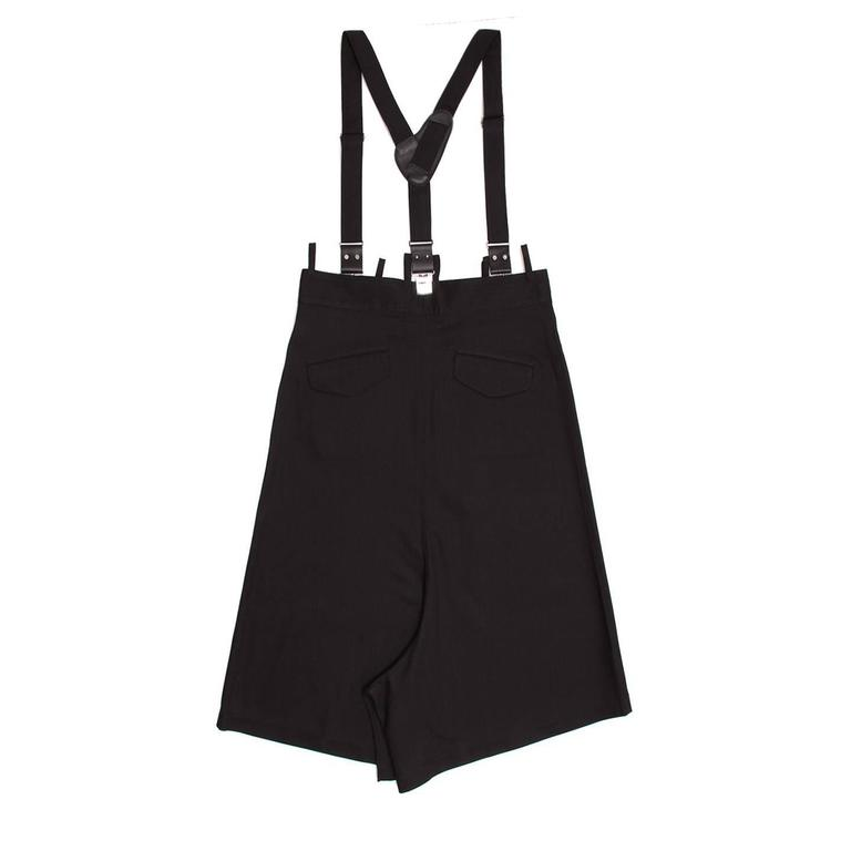 Yohji Yamamoto Black Denim Culottes With Suspender In New never worn Condition For Sale In Brooklyn, NY