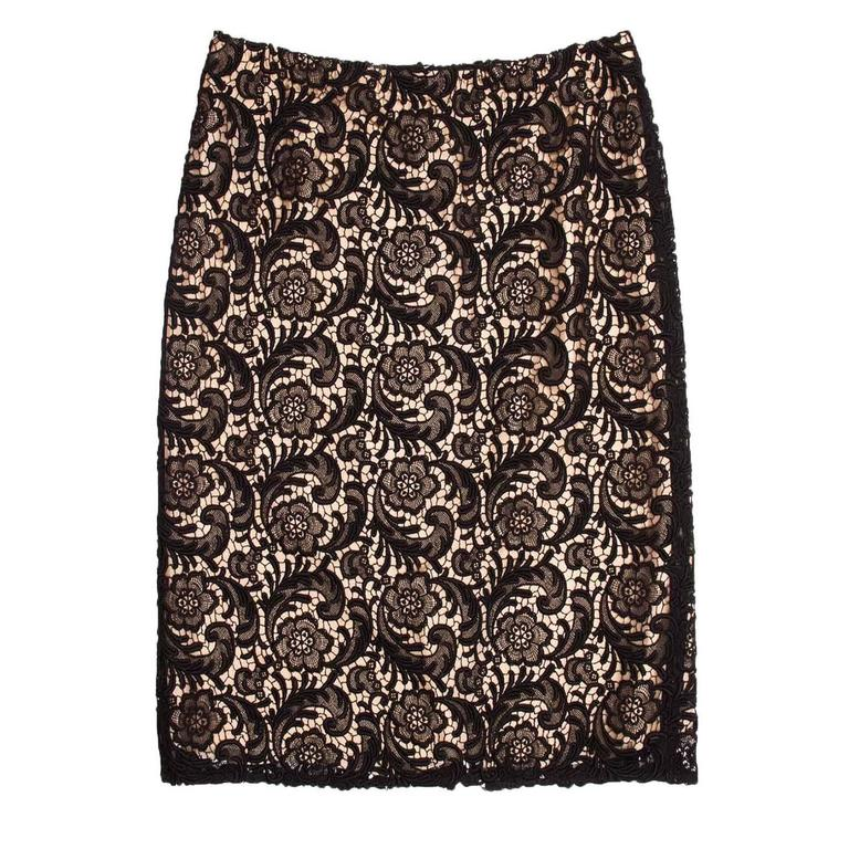 High waist black Swiss made lace skirt with nude tan silk slip.