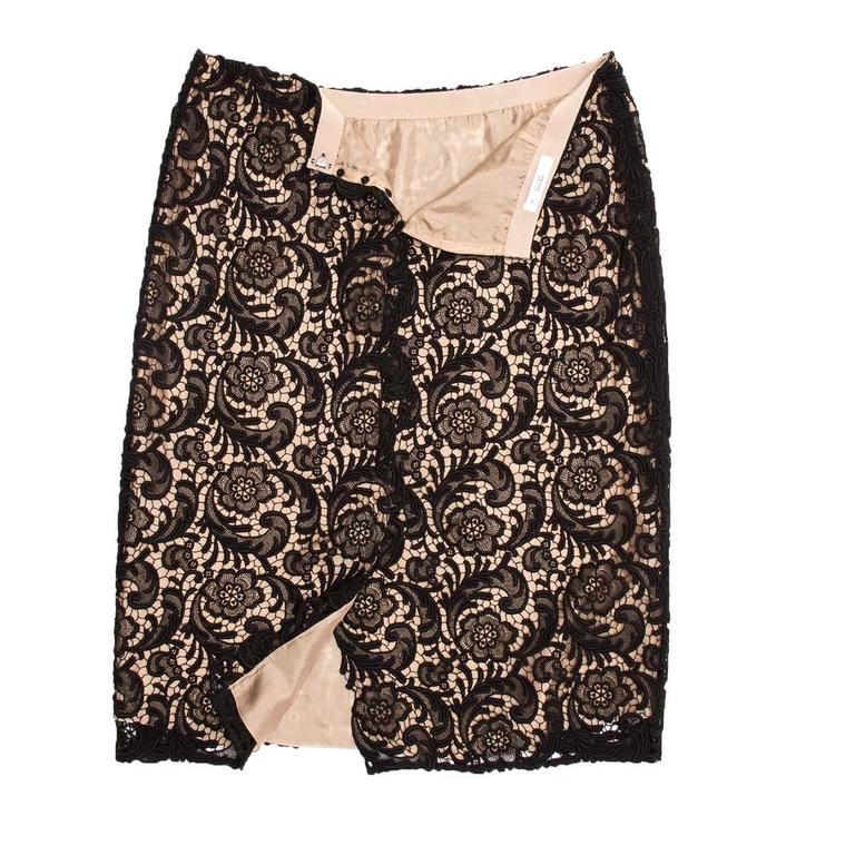 Women's Prada Black Lace & Nude Slip Skirt For Sale