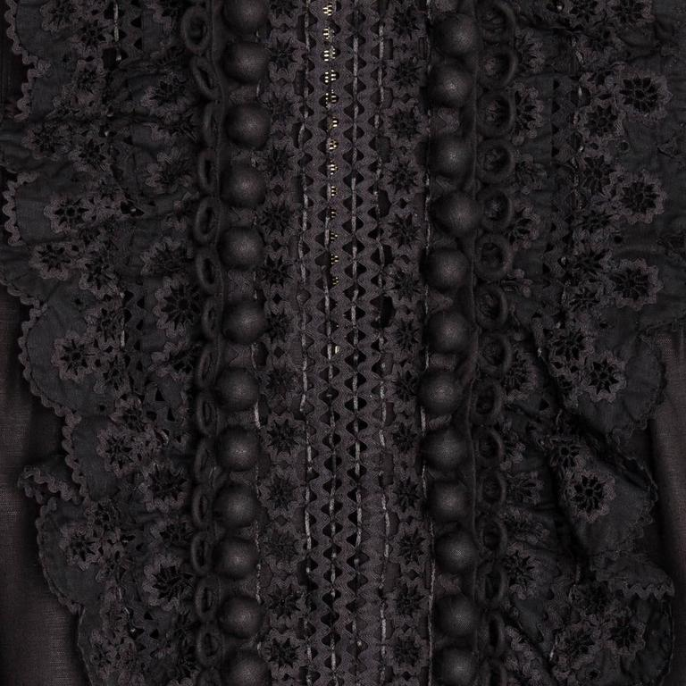 Chloe' Black Linen Top With Ruffles 4