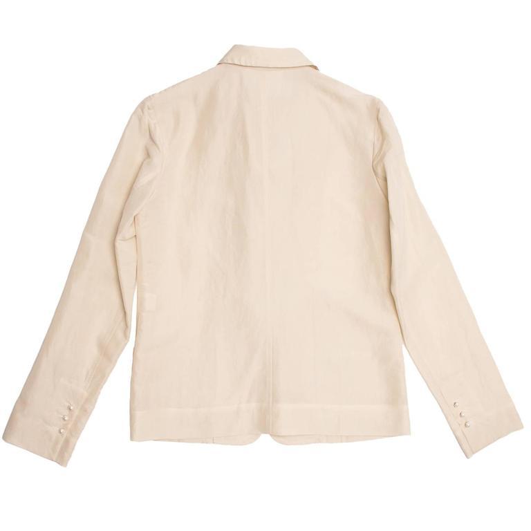 Beige Lanvin Cream Raw Silk Blazer For Sale