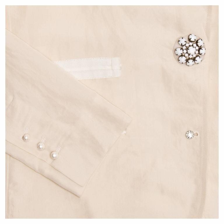 Women's Lanvin Cream Raw Silk Blazer For Sale