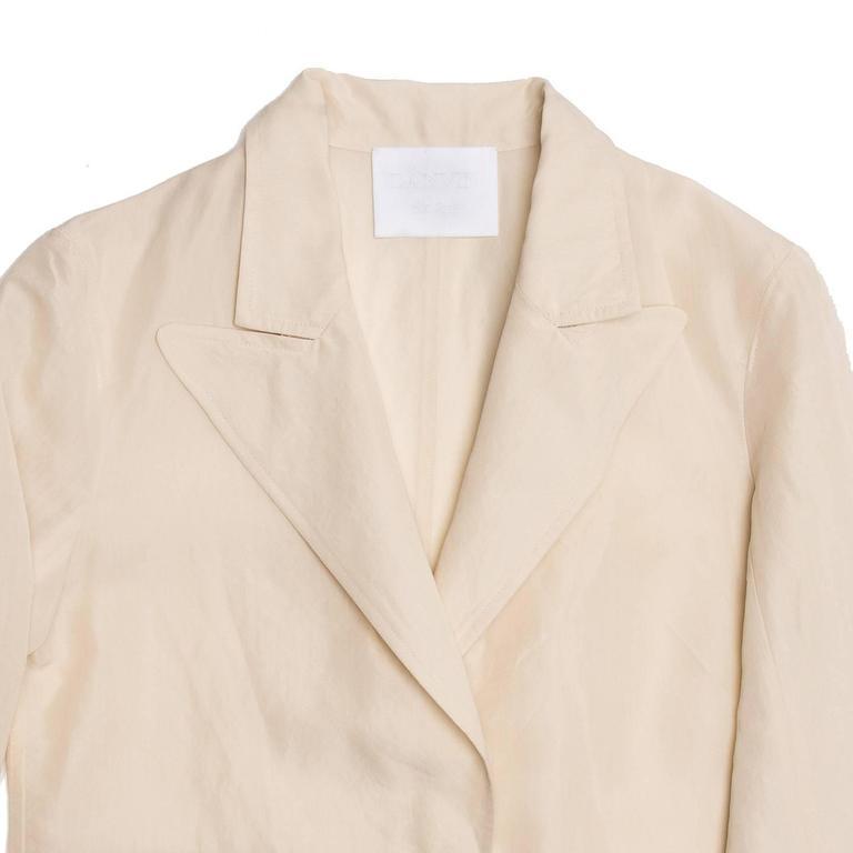 Lanvin Cream Raw Silk Blazer In Excellent Condition For Sale In Brooklyn, NY