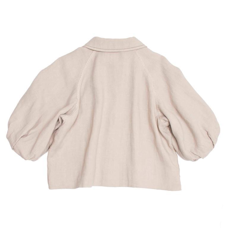 Beige Lanvin Ecru Linen Cropped Jacket For Sale
