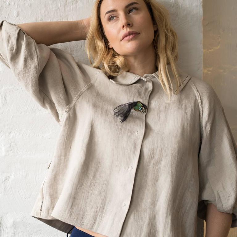 Women's Lanvin Ecru Linen Cropped Jacket For Sale