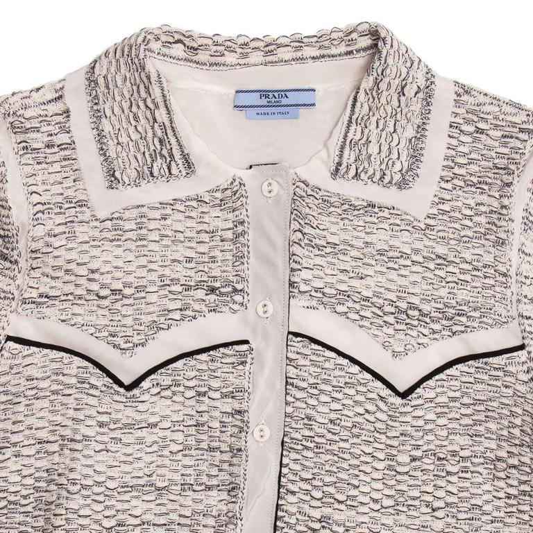 Women's Prada Ivory & Grey Western Cardigan For Sale