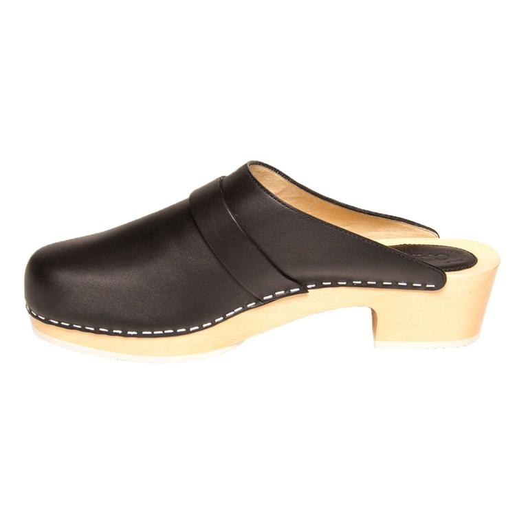Chanel Black Leather Wooden Clogs 4