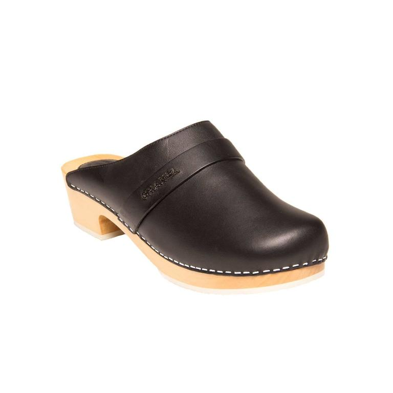 Chanel Black Leather Wooden Clogs 3