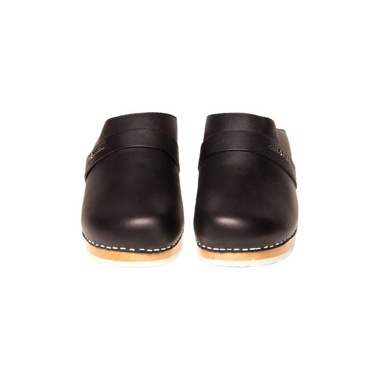 Chanel Black Leather Wooden Clogs 2