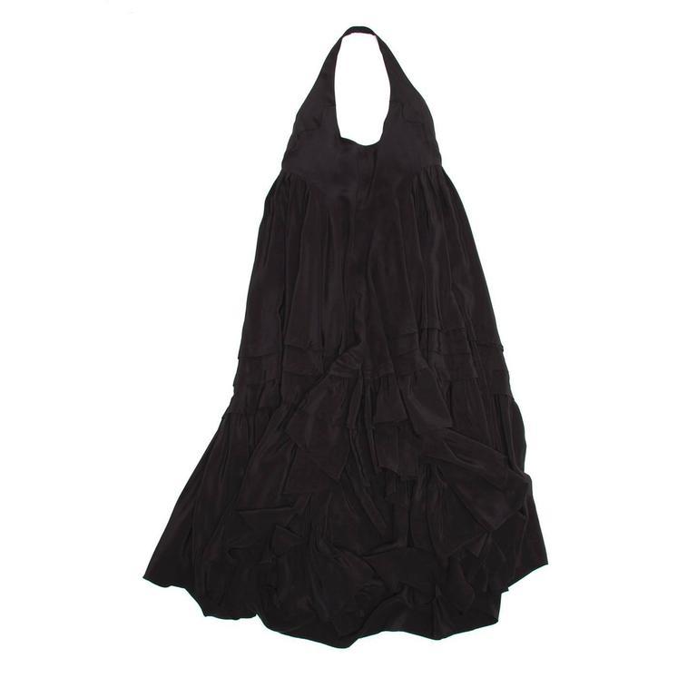 Balenciaga Black Silk Long Halter Dress 2