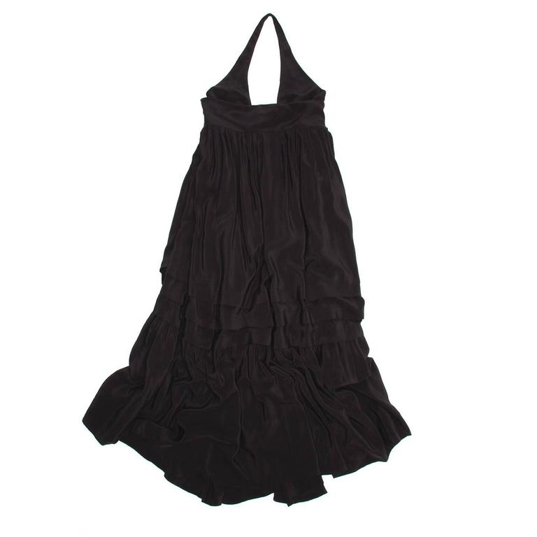 Balenciaga Black Silk Long Halter Dress In Excellent Condition For Sale In Brooklyn, NY