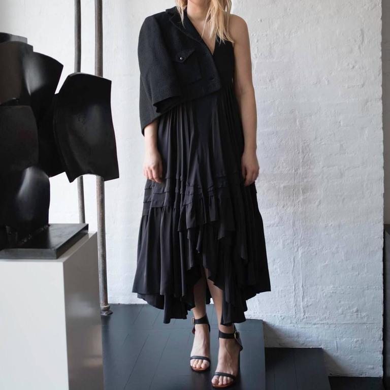 Balenciaga Black Silk Long Halter Dress 5