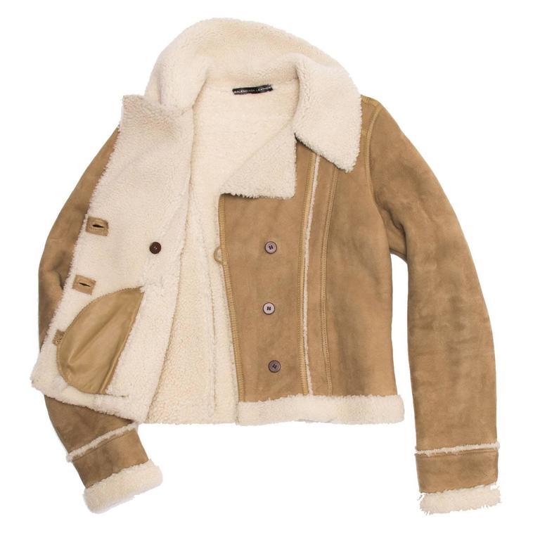 Brown Balenciaga Tan & Ivory Shearling Jacket For Sale