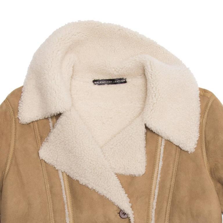 Women's Balenciaga Tan & Ivory Shearling Jacket For Sale