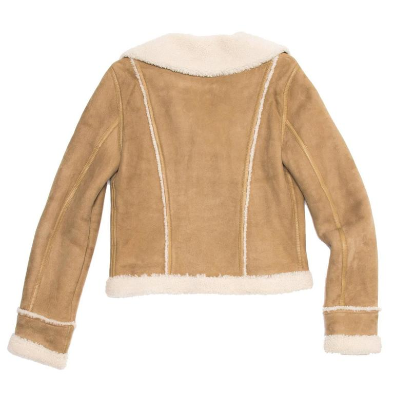 Balenciaga Tan & Ivory Shearling Jacket In Excellent Condition For Sale In Brooklyn, NY